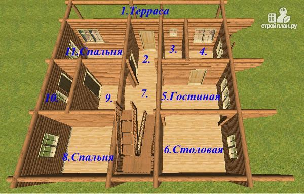 Фото 11: проект бревенчатый дом 10х10.5 с большой летней террасой и балконом