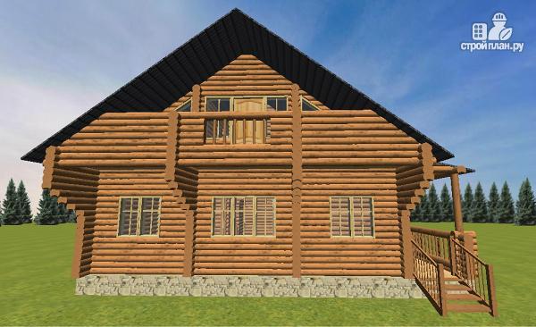 Фото 3: проект бревенчатый дом 10х10.5 с большой летней террасой и балконом