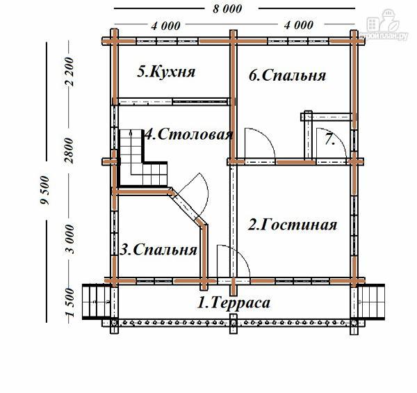 Фото 8: проект дом из бревна 8х9.5 с балконом и террасой