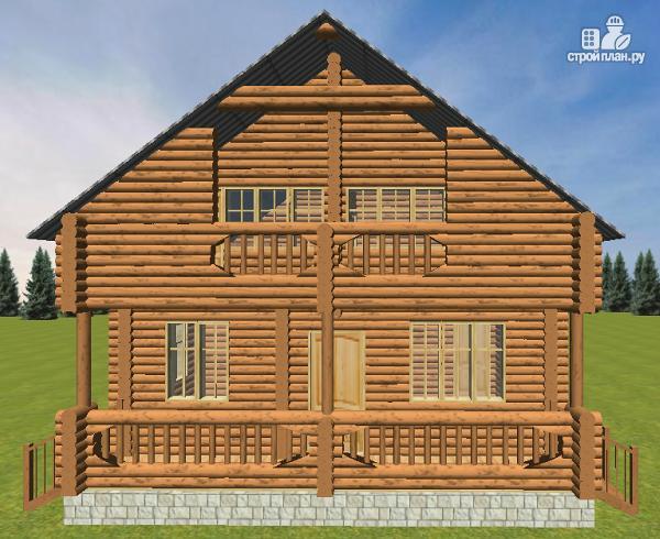 Фото 7: проект дом из бревна 8х9.5 с балконом и террасой