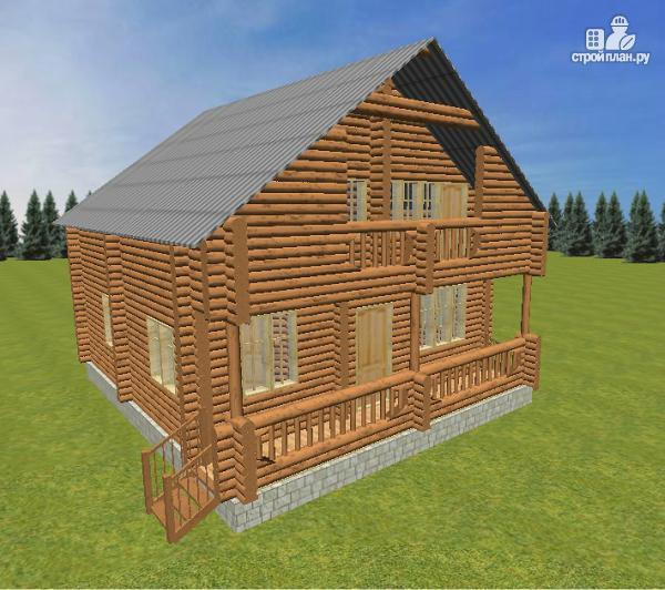Фото 2: проект дом из бревна 8х9.5 с балконом и террасой