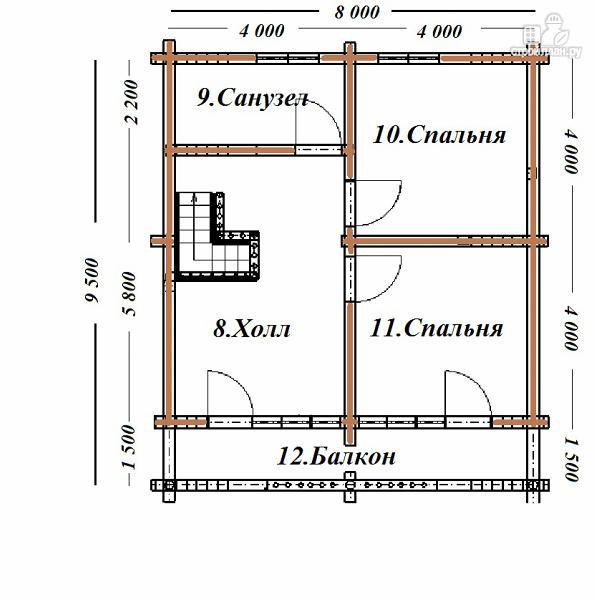 Фото 10: проект дом из бревна 8х9.5 с балконом и террасой