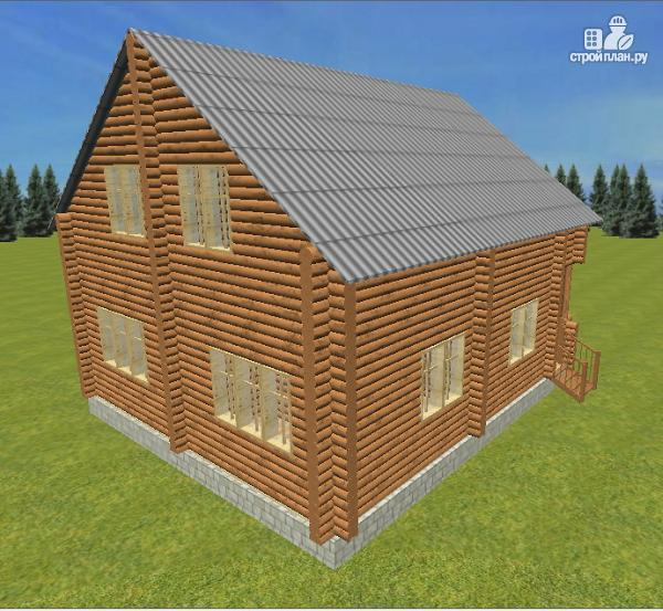 Фото 3: проект дом из бревна 8х9.5 с балконом и террасой