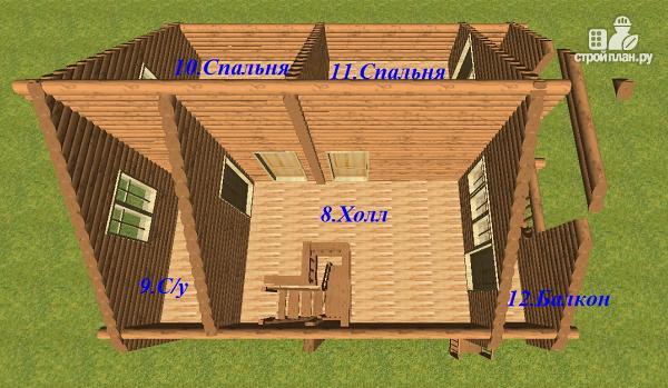 Фото 11: проект дом из бревна 8х9.5 с балконом и террасой