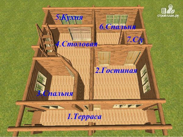 Фото 9: проект дом из бревна 8х9.5 с балконом и террасой