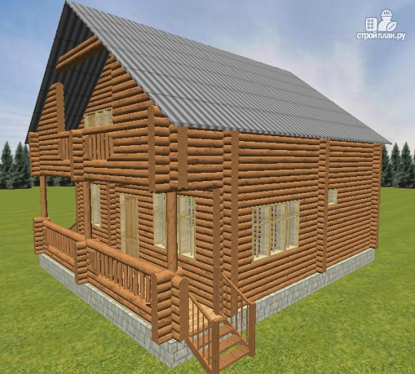 Фото 6: проект дом из бревна 8х9.5 с балконом и террасой