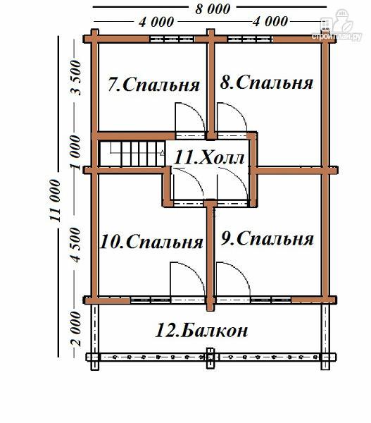 Фото 8: проект дом из бревна 8х11 с террасой и балконом