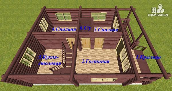 Фото 7: проект дом из бревна 8х11 с террасой и балконом