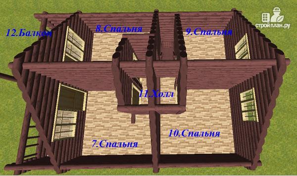 Фото 9: проект дом из бревна 8х11 с террасой и балконом