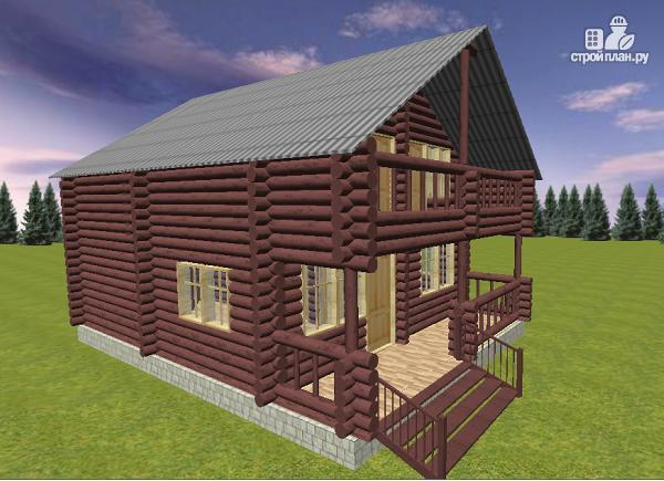 Фото 4: проект дом из бревна 8х11 с террасой и балконом