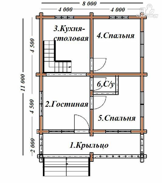 Фото 6: проект дом из бревна 8х11 с террасой и балконом
