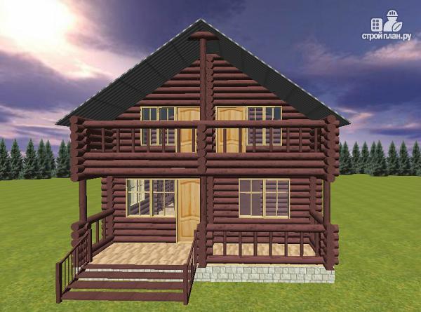 Фото 3: проект дом из бревна 8х11 с террасой и балконом