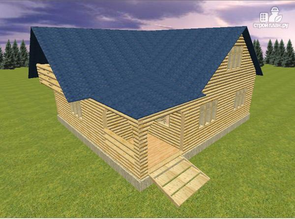 Фото 2: проект дом из бревна 10х11 с террасой