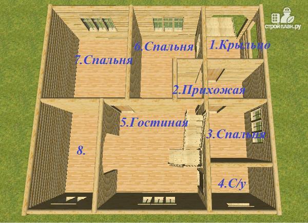 Фото 9: проект дом из бревна 10х11 с террасой