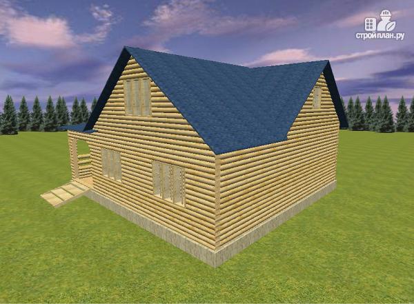 Фото 6: проект дом из бревна 10х11 с террасой