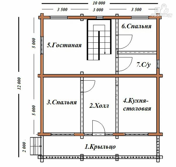 Фото 11: проект сруб дома из бревна 10х12