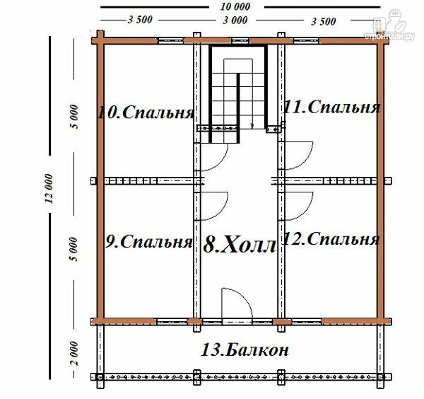 Фото 13: проект сруб дома из бревна 10х12