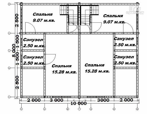 Фото 12: проект спаренный дом из бруса 8х10