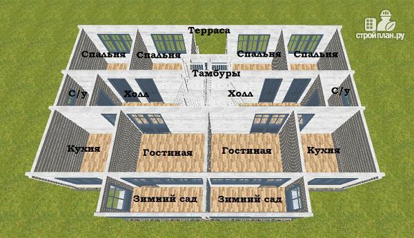 Фото 10: проект спаренный дом из бруса 9.5х14