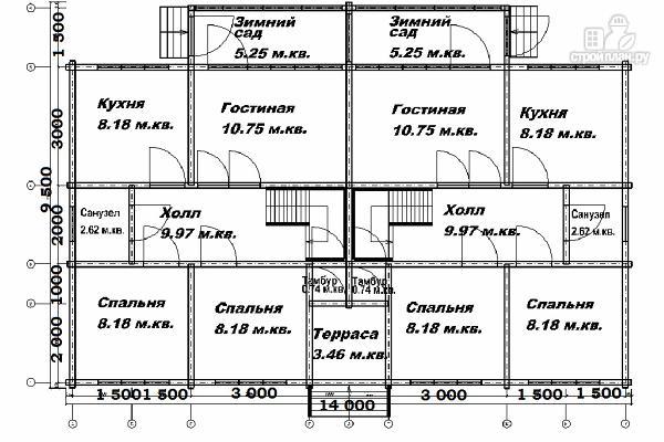 Фото 9: проект спаренный дом из бруса 9.5х14
