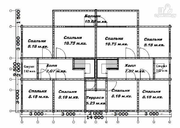 Фото 11: проект спаренный дом из бруса 9.5х14