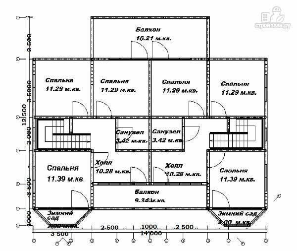 Фото 6: проект спаренный дом из бруса 12.5х14