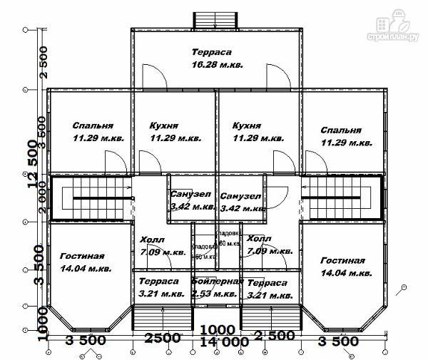 Фото 4: проект спаренный дом из бруса 12.5х14