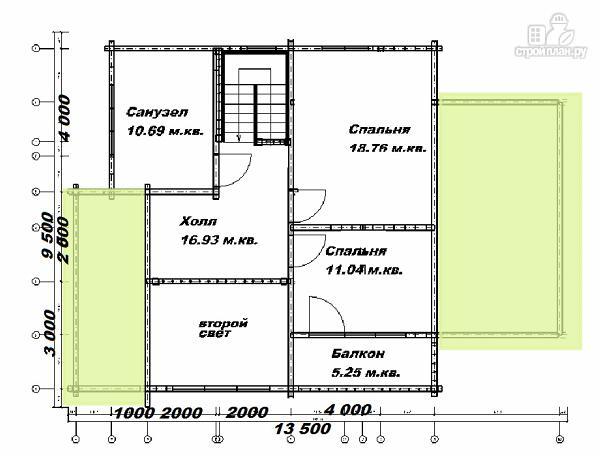 Фото 12: проект дом из бруса  13.5х9.5 со вторым светом