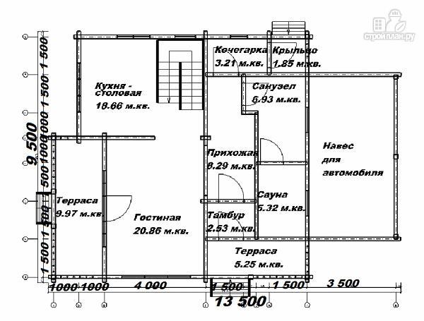 Фото 10: проект дом из бруса  13.5х9.5 со вторым светом