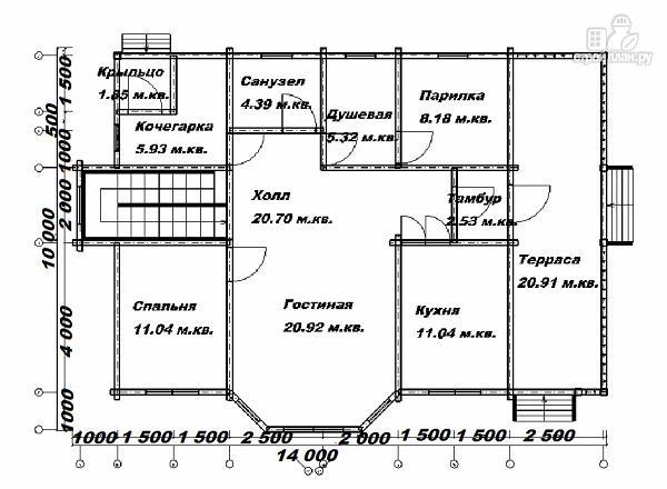 Фото 10: проект дом из бруса 10х14 с баней