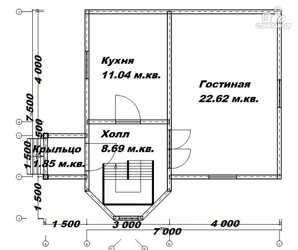 Фото 9: проект дом из бруса 7х7.5