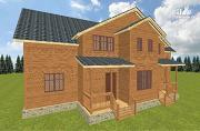 Проект смежный дом из бруса (на две семьи)