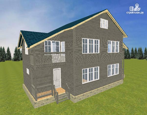 Фото: проект смежный дом из бруса на две семьи