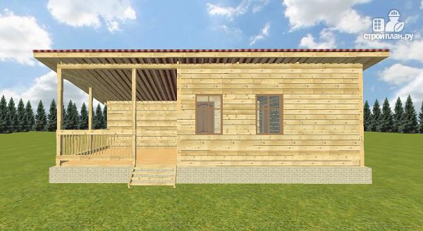 Фото 5: проект баня из бруса с односкатной крышей и террасой