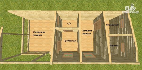 Фото 4: проект баня из бруса с односкатной крышей и террасой