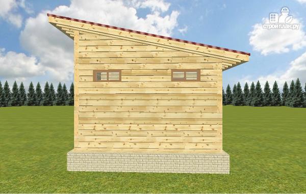 Фото 6: проект баня из бруса с односкатной крышей и террасой