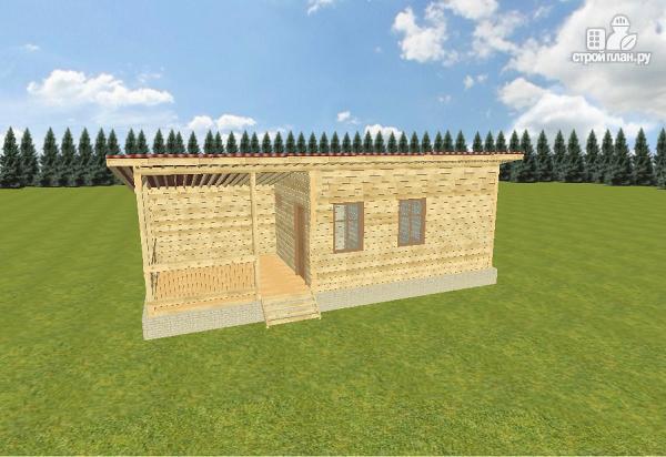 Фото 10: проект баня из бруса с односкатной крышей и террасой