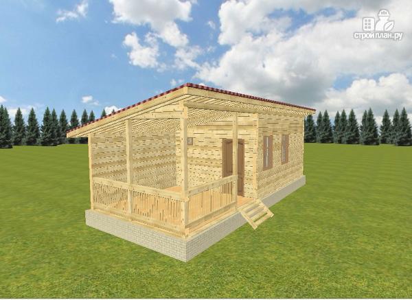 Фото: проект баня из бруса с односкатной крышей и террасой