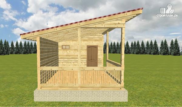 Фото 8: проект баня из бруса с односкатной крышей и террасой