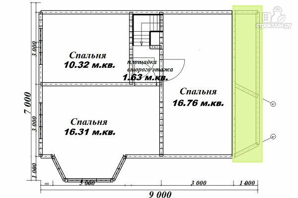 Фото 12: проект дом из бруса 7х9 с эркерами