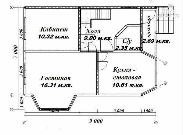 Фото 10: проект дом из бруса 7х9 с эркерами