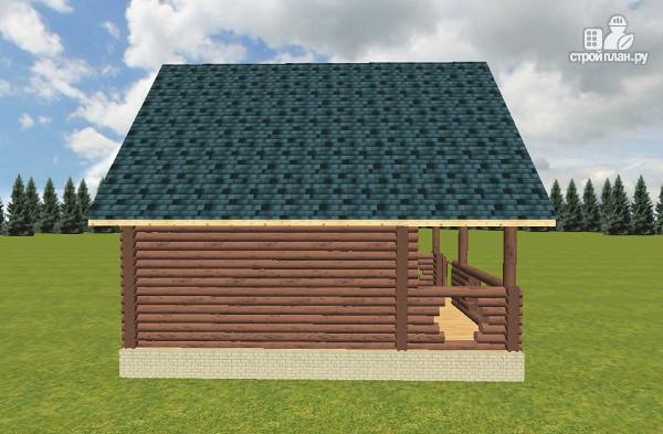 Фото 5: проект баня из бревна с террасой и мансардой
