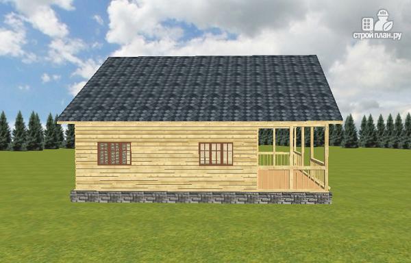 Фото 12: проект дом из бруса с террасой и балконом