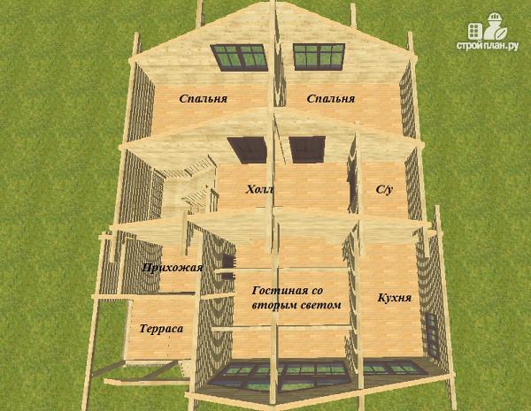 Фото 12: проект дом из бруса разноэтажный со вторым светом