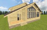 Проект дом из бруса разноэтажный со вторым светом