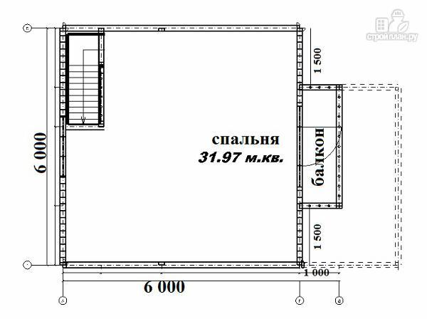 Фото 12: проект дом из бруса 6х6 с террасой и балконом