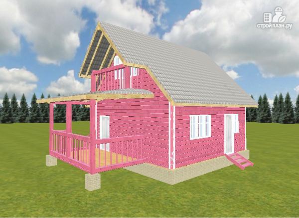 Фото 7: проект дом из бруса 6х6 с террасой и балконом