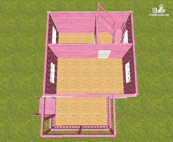 Фото 11: проект дом из бруса 6х6 с террасой и балконом