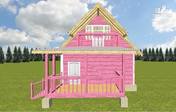 Фото 2: проект дом из бруса 6х6 с террасой и балконом
