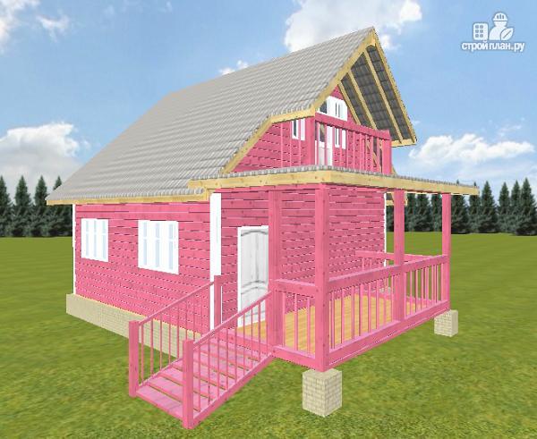 Фото 6: проект дом из бруса 6х6 с террасой и балконом